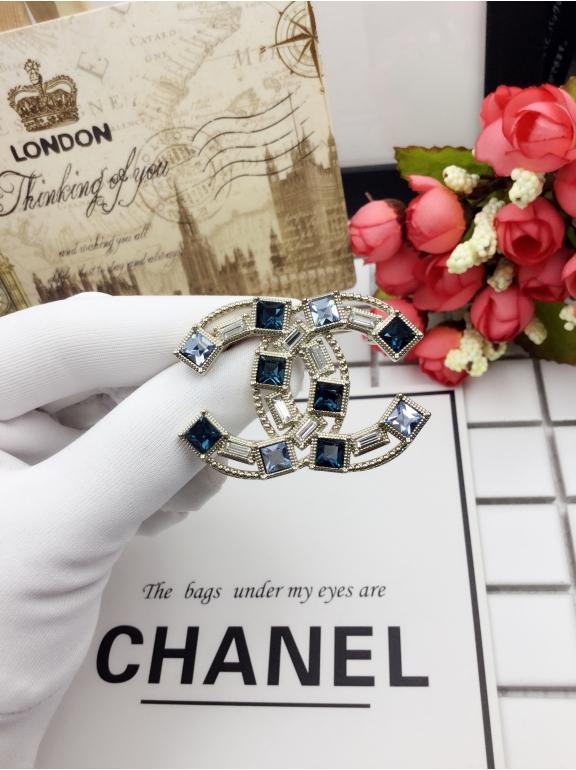 Золотая Брошка Chanel бирюзово - синие камни