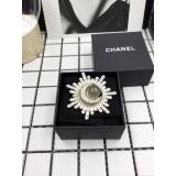 Золотая Брошка Chanel звезда - месяц лунный камень