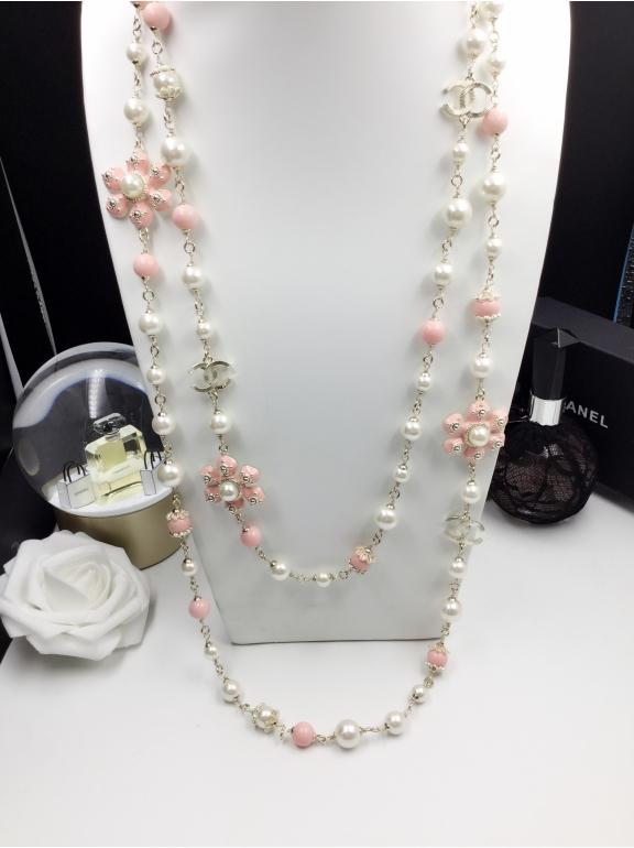 Колье Chanel бело - розовые жемчужинки цветы