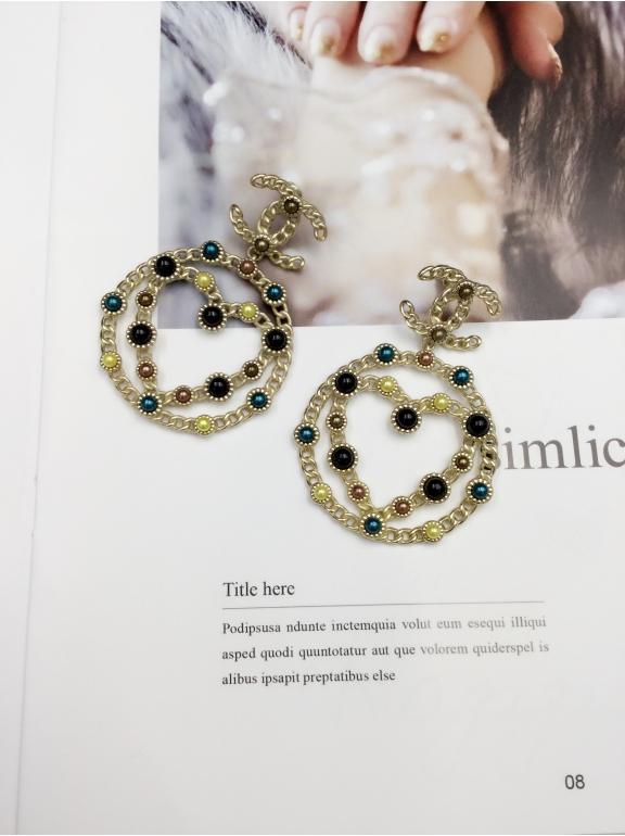 Золотые Серьги Chanel круги сердце значок разноцветные камни