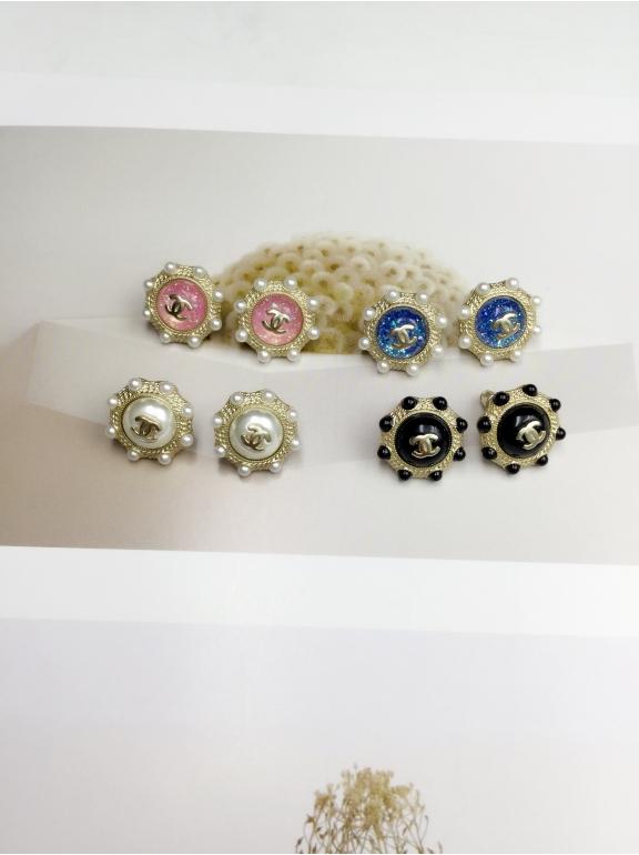 Золотые Серьги Chanel голубой круг золотой значок жемчужинки