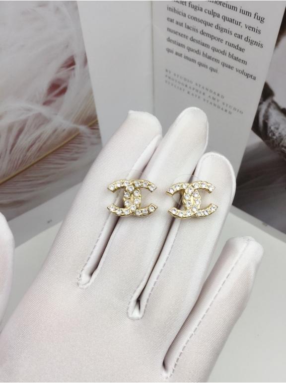Золотые Серьги Chanel значок камни