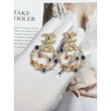 Золотые Серьги Chanel круг 5 разноцветные камни жемчужинки