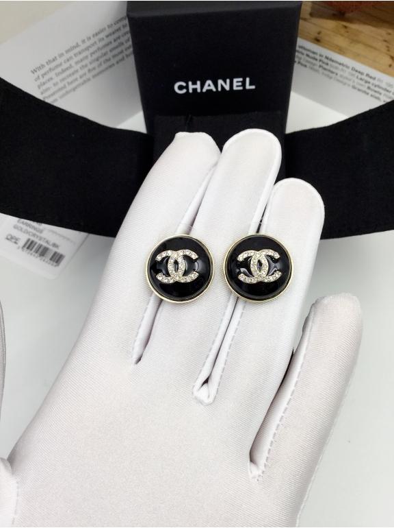 Черные Серьги Chanel круг значок белые камни в золотом