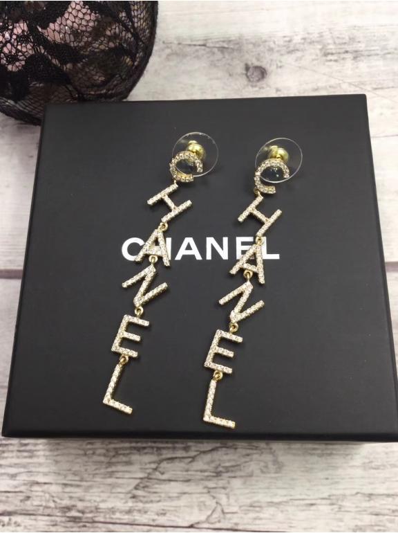 Золотые Серьги Chanel буквы chanel камни