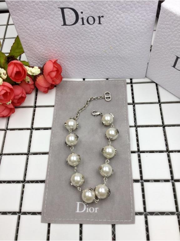 Браслет Christian Dior белые жемчужинки пчелка 8 звезда клевер