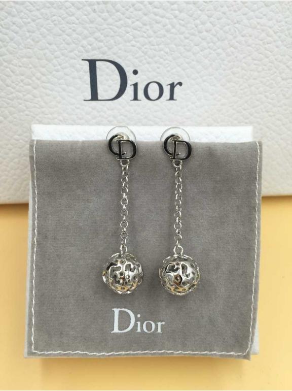 Серьги Christian Dior белый шарик звезды CD черная эмаль