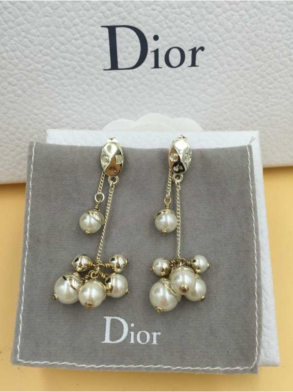 Серьги Christian Dior золотая гроздь шарики жемчужинки