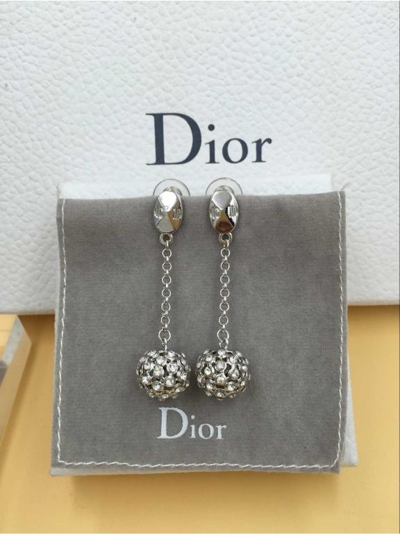 Серьги Christian Dior белый шарик белые камни CD
