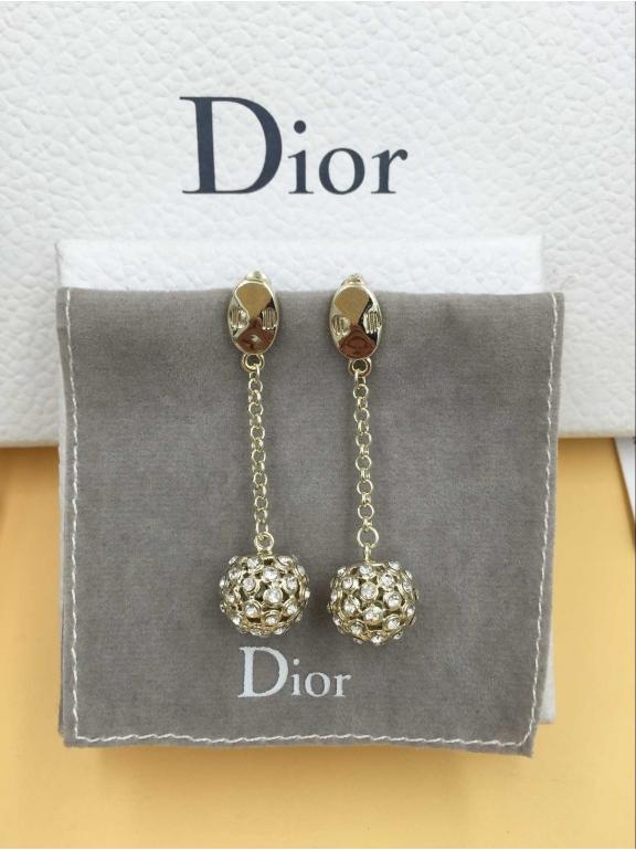 Серьги Christian Dior золотой шарик белые камни CD