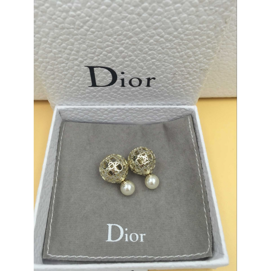 Серьги Christian Dior золотые пусеты орнамент жемчужинки