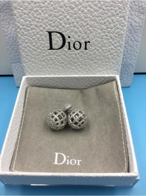 Серьги Christian Dior белые пусеты камни