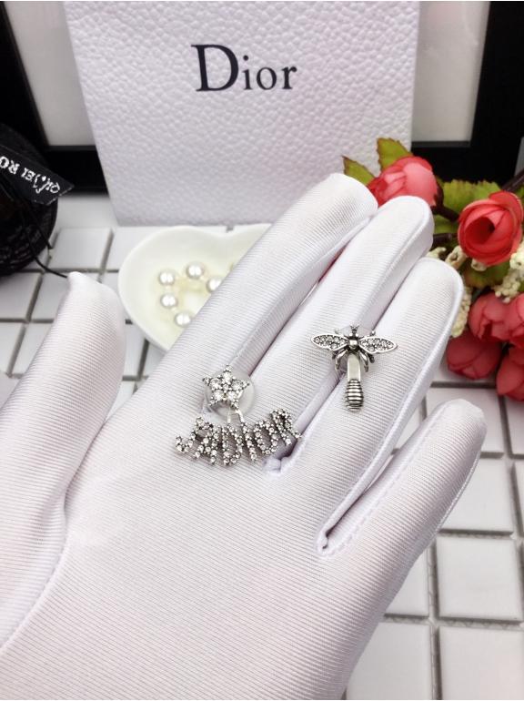 Серьги Christian Dior пчелка камни - звезда jadior белые камни