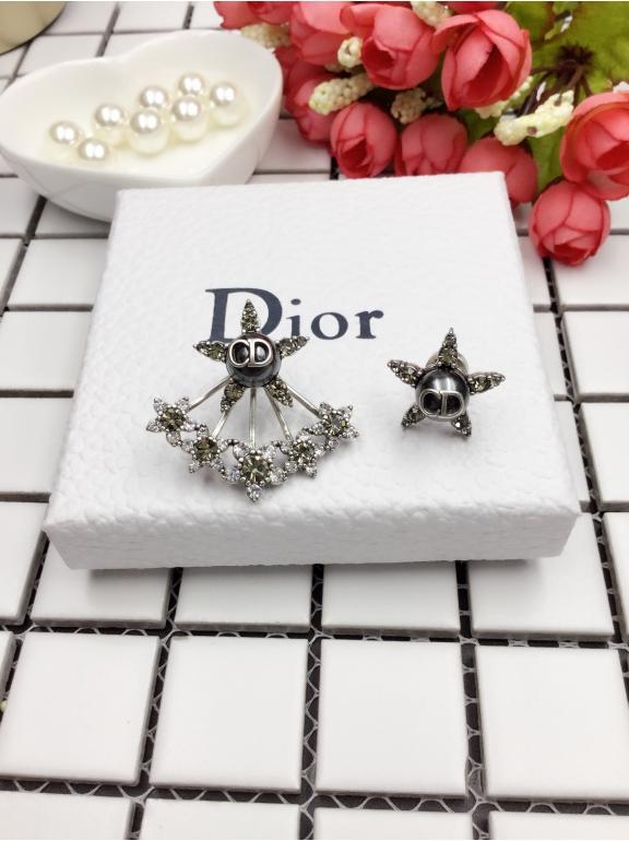 Серьги Christian Dior звезда жемчужинка камни + звезда жемчужинка звезды