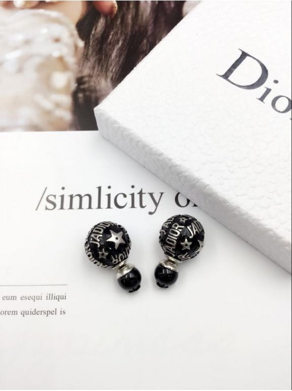 Серьги Christian Dior черные пусеты белые jadior звезды