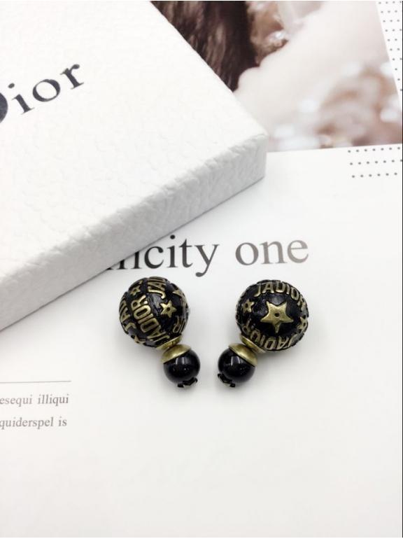 Серьги Christian Dior черные пусеты золотые jadior звезды