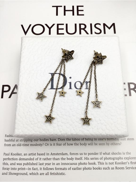 Серьги Christian Dior черно - золотые звезды эмаль висюльки