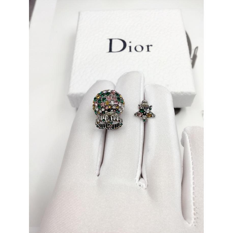 Серьги Christian Dior разноцветный шарик камни CD + разноцветная звездочка