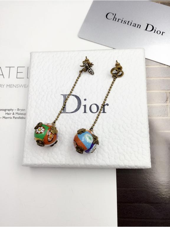 Серьги Christian Dior разноцветный шарик эмаль cd 8 клевер пчелка
