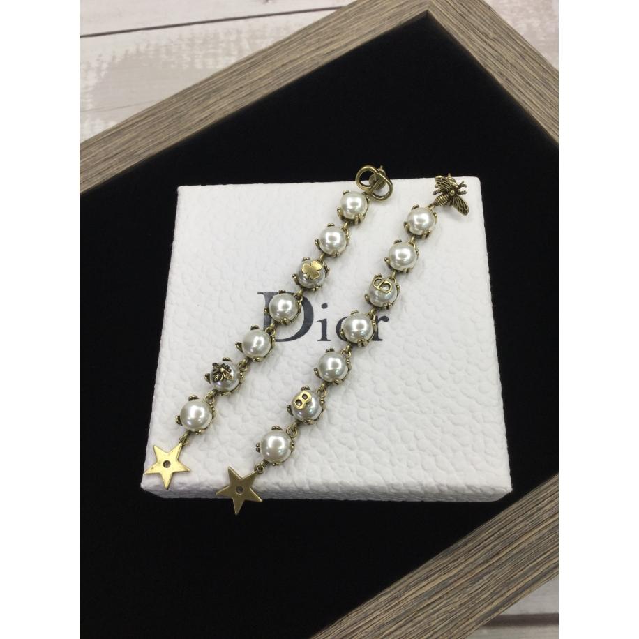 Серьги Christian Dior пчелка гроздья белых жемчужин CD 8