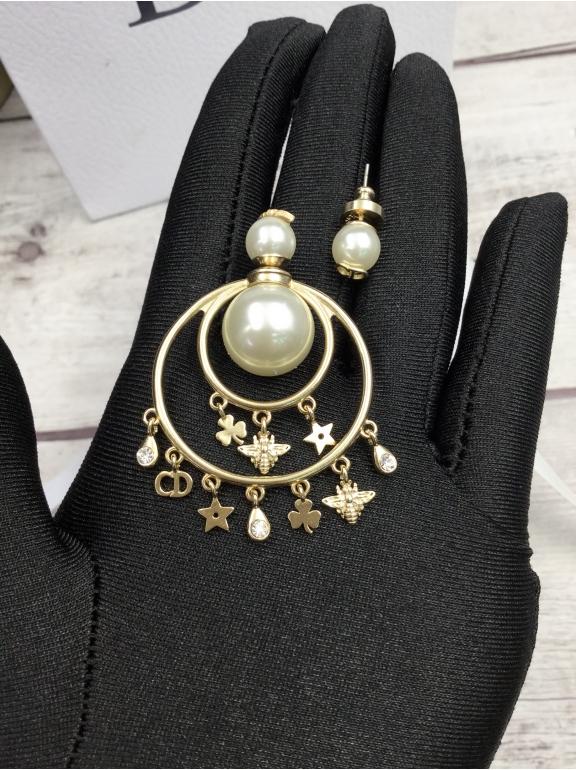 Серьги Christian Dior пусеты белая жемчужинка обод висюльки