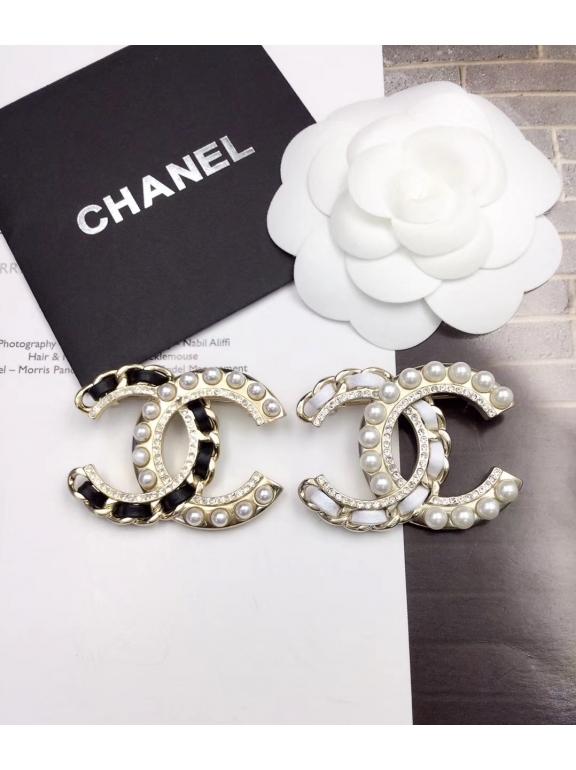 Золотая Брошка Chanel значок черная кожа камни