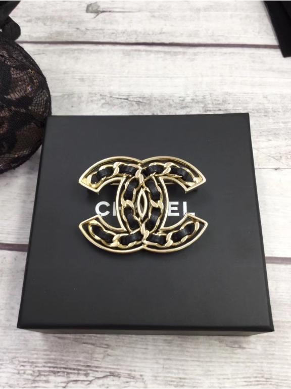 Золотая Брошка Chanel значок черная кожа