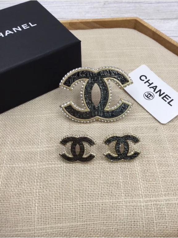 Черный Брошка Chanel значок жемчужинки камни