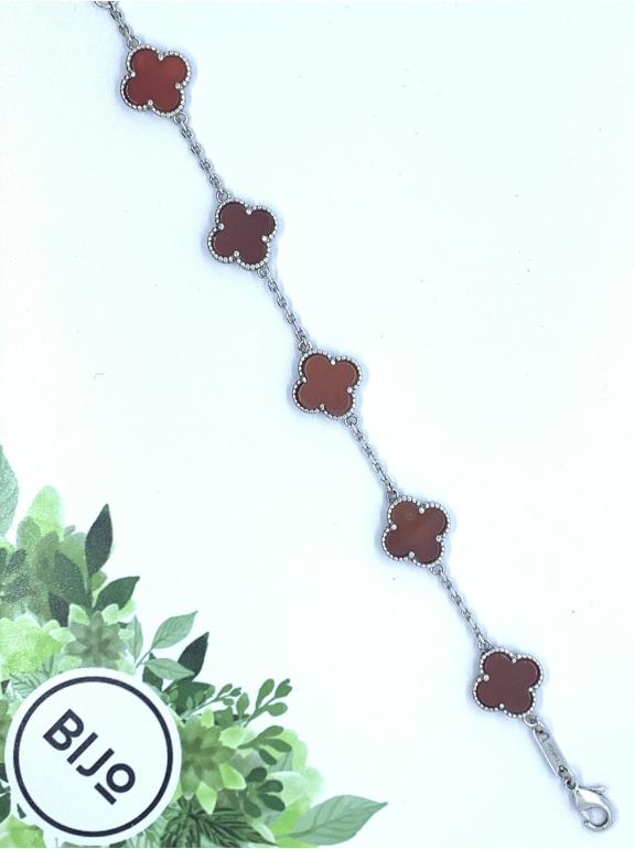 Красный Браслет в стиле VCA пять цветочков в белом