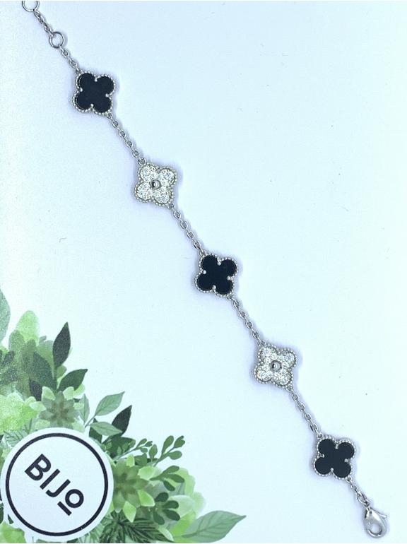 Черный Браслет в стиле VCA пять цветочков - камни в белом