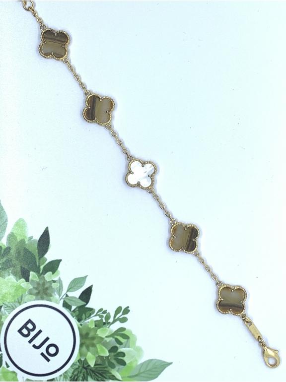 Коричневый Браслет в стиле VCA пять цветочков в золоте