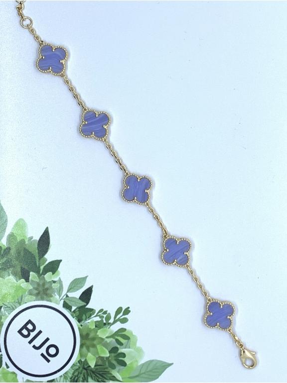 Лиловый Браслет в стиле VCA пять цветочков в золоте
