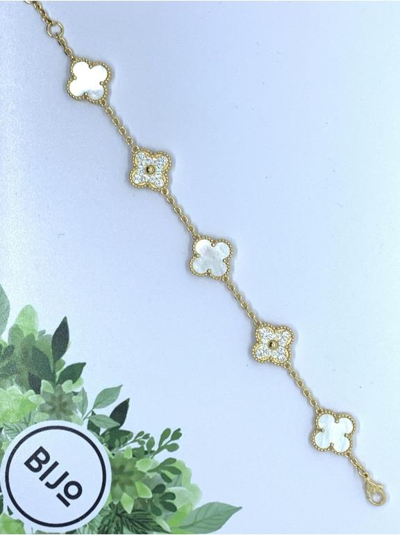 Белый Браслет в стиле VCA пять цветочков - камни в белом