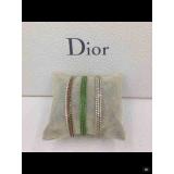 Белый браслет Christian Dior зеленые камни белый