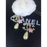 Золотые серьги Chanel розовый цветок эмаль жемчужинка