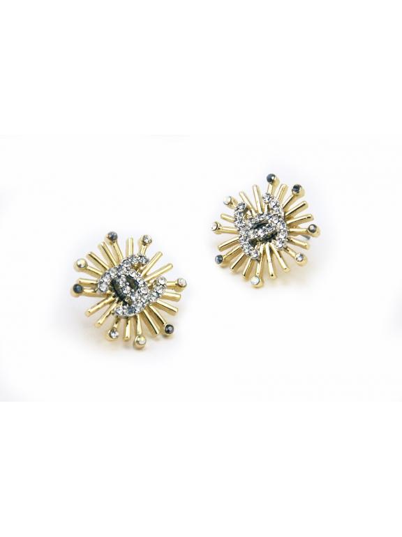 Золотые серьги Chanel звезды камни