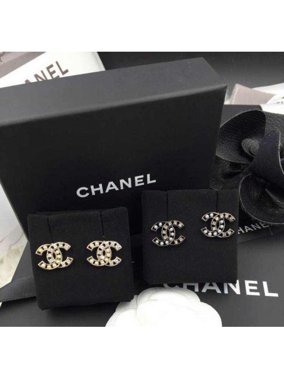 Черные серьги Chanel жемчужинки камни