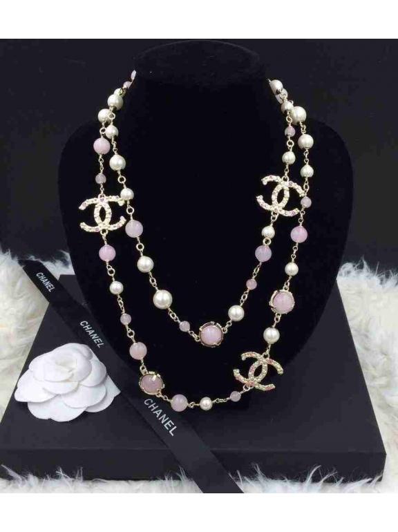 Золотое колье Chanel розово - белые жемчужинки