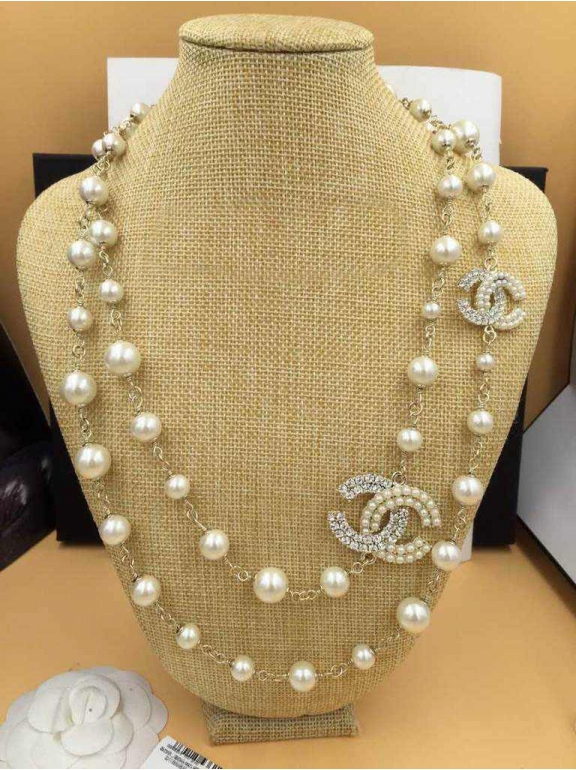 Золотое колье Chanel жемчужинки камни
