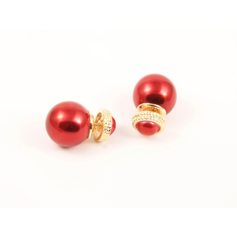 Красные серьги - пусеты Christian Dior
