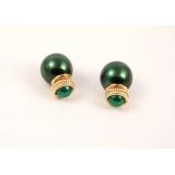 Зеленые серьги - пусеты Christian Dior