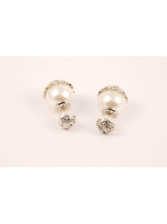 Белые серьги - пусеты Christian Dior
