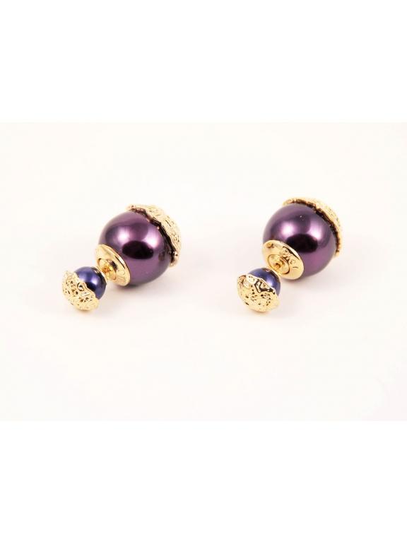 Фиолетовые глянцевые серьги - пусеты Christian Dior