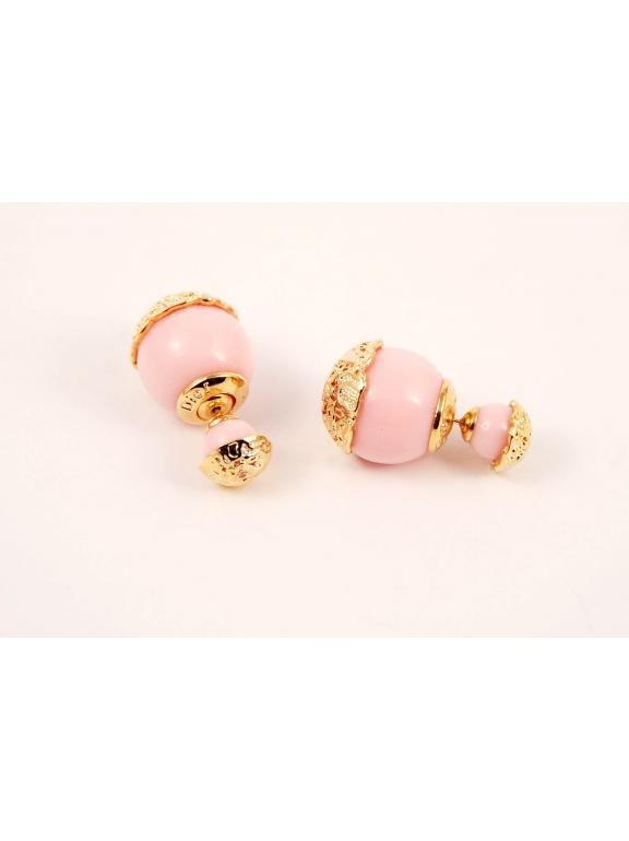 Розовые глянцевые серьги - пусеты Christian Dior