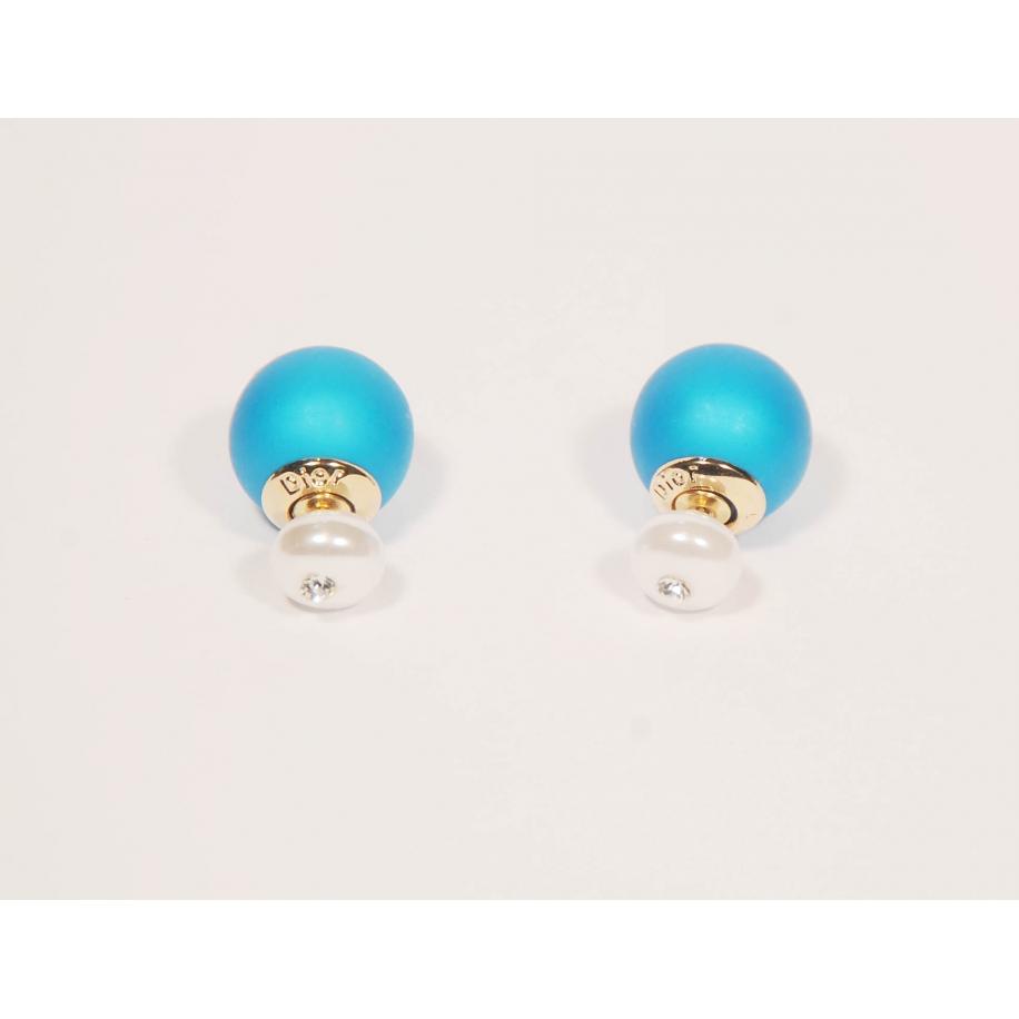 Голубые матовые серьги - пусеты Christian Dior