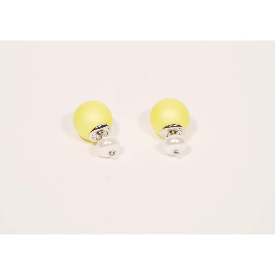 Желтые матовые серьги - пусеты Christian Dior