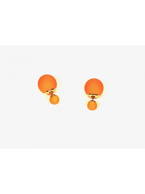 Оранжевые матовые серьги - пусеты Christian Dior
