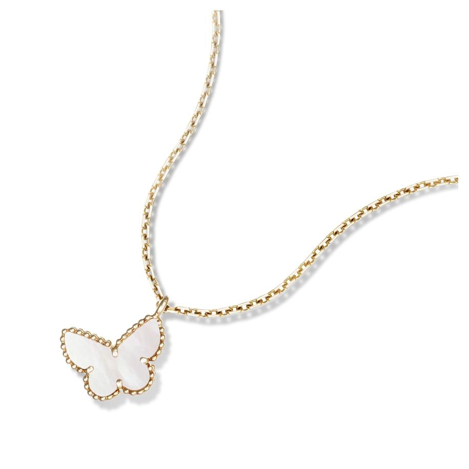 Белая Подвеска в стиле VCA одна бабочка в золоте