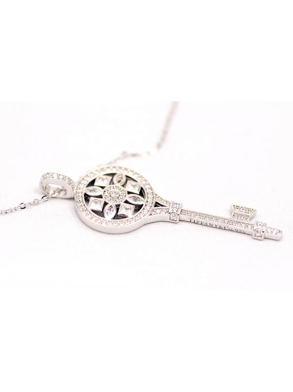 Подвеска серебряная Tiffany большой белый ключ камни swarowski