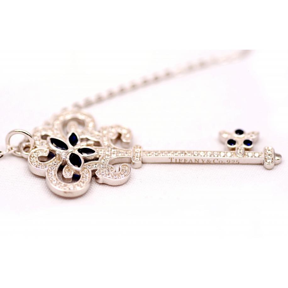 Подвеска серебряная Tiffany большой белый ключ синие бабочки камни swarowski